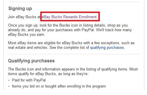 eBay Bucks登録リンク画面