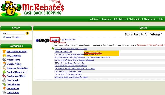 Mr.Rebates検索結果