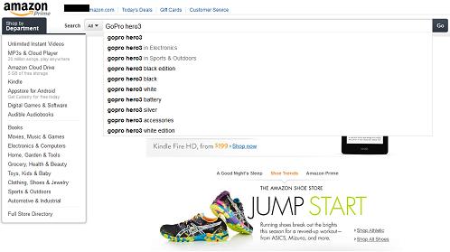 amazon.com検索画面