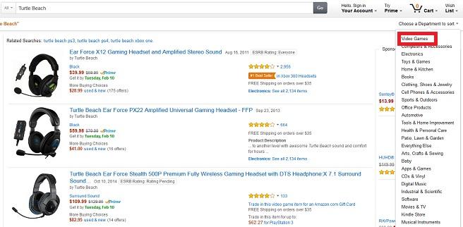 Amazon.comでの検索結果のカテゴリ選択画面